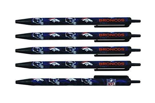 (NFL Denver Broncos Disposable Black Ink Click Pens, 5-Pack)