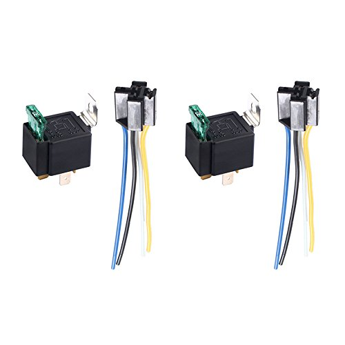 EtoparsTM 2 X 12V 30A Car Vehicle Motor Heavy Duty Relay Socket Plug 4Pin Fuse On/Off SPST Wire Metal