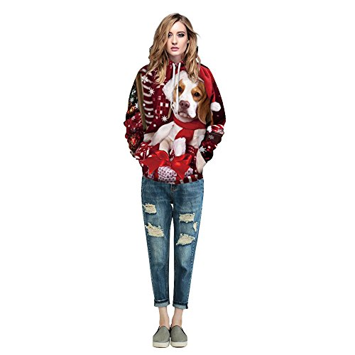 Center Court Short Sleeve Top - Women Men Tops Christmas Xmas 3D Pet Printed Hoodies Sweatshirt SanCanSn Pullover (A#Red,XXL)