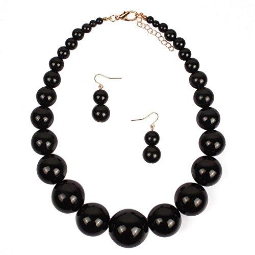 KOSMOS-LI Large Style Big Imitate Pearl Strand Choker Necklace with Earrings - Bead Jewelry Chunky