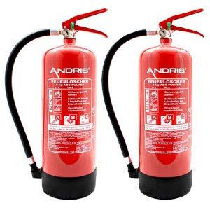 Super 2X 6kg ABC Pulver Feuerlöscher + 2X ANDRIS® Prüfnachweise und ISO EY89