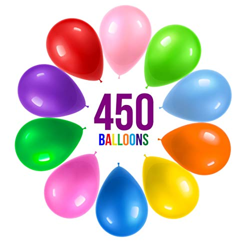 Prextex 450 Party Balloons 12 Inch 10 Assorted Rainbow Colors - Bulk Pack of Strong Latex Balloons for Party Decorations, Birthday Parties Supplies or Arch Decor - Helium Quality