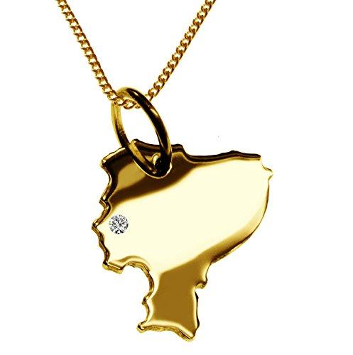 Endroit Exclusif Équateur Carte Pendentif avec brillant à votre Désir (Position au choix.)-avec Chaîne-massif Or jaune de 585or, artisanat Allemande-585de bijoux