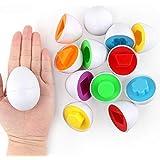 Batteraw 6Pcs Kids Infant Toddler Simulation Eggs Color Shape Matching Egg Set Educational Development Puzzle Toy