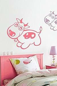 Pink Baby Cow Wall Sticker Art Decal, Pink [wa0119]