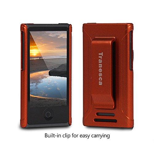 iPod Nano 7 case,Tranesca iPod Nano 7th & 8th generation rubber cover shell case with belt clip - Coral Red