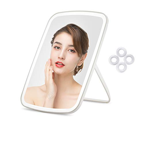 Lighted Makeup Mirror, CouHaP Portable LED Vanity Mirror with Lights, Light Adjustable Dimmable Cosmetic Mirror with Touch Screen Switch, USB Charging for Home Tabletop Bathroom 4 Hair Ties Included