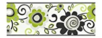 York Wallcoverings PW3952B Girl Power 2 Floral Scroll Border, White/Black/Lime