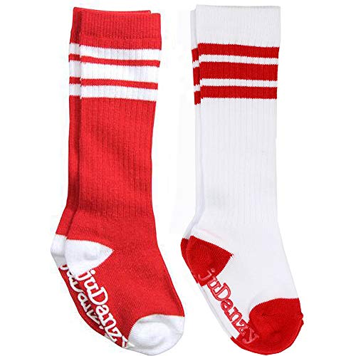 juDanzy knee high team color tube socks for toddler and youth boys and girls (2 Pack) (6-10 Years (Shoe Size 1-7) With Anti-slip grip, Red)