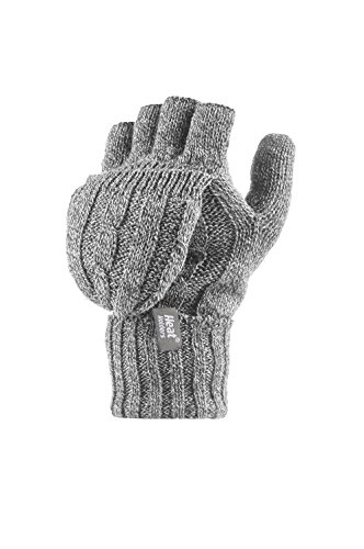 Heat Holders - Womens Thermal Converter Fingerless Cable Knit 2.3 Tog Gloves - One Size (Light Grey)