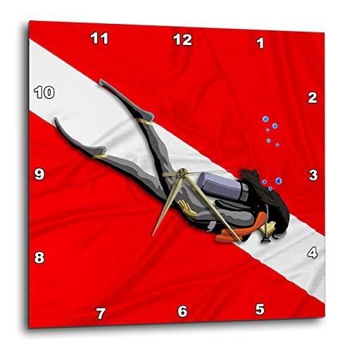 3dRose Macdonald Creative Studios – Scuba - Woman Scuba Diver in Front of a red and White Dive Flag. - 13x13 Wall Clock (DPP_295425_2) -