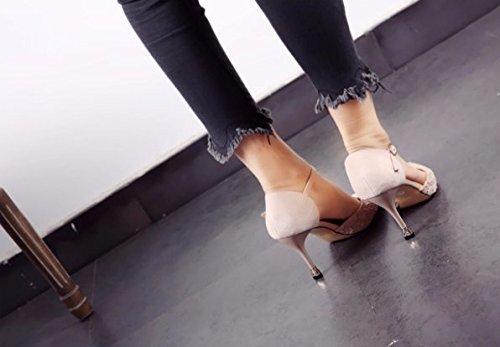 Da scarpe Moda Ajunr sola tacchi fibbia di affilato bianco trentacinque parola Sexy Testa Riso 9cm Sandali alti Cava Belle con tacchi 36 Donna Traliccio Alla Unico Una qfBxwn5BC