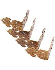 4pcs Corner Plate Chinese Furniture Hardware Protector for Cabinet Trunk Box Edging, Antique Brass