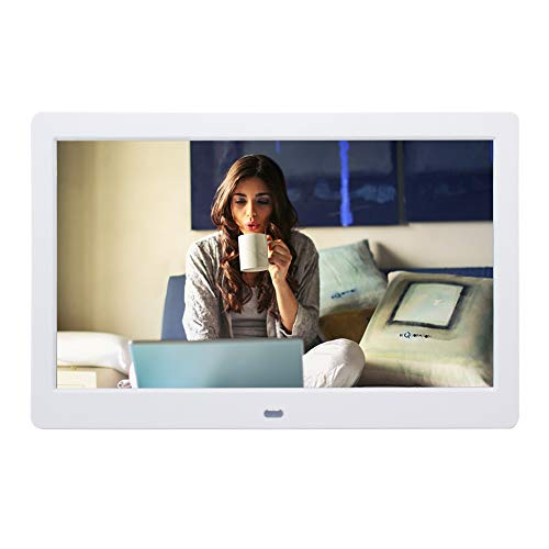 Digital Picture Frames SZSUPER 10 inch Digital Photo Frame High Resolution LCD Electric Picture Frames with Video Player Stereo MP3 Calendar Auto On/Off Timer with Remote Control(White) by szsuper (Image #1)