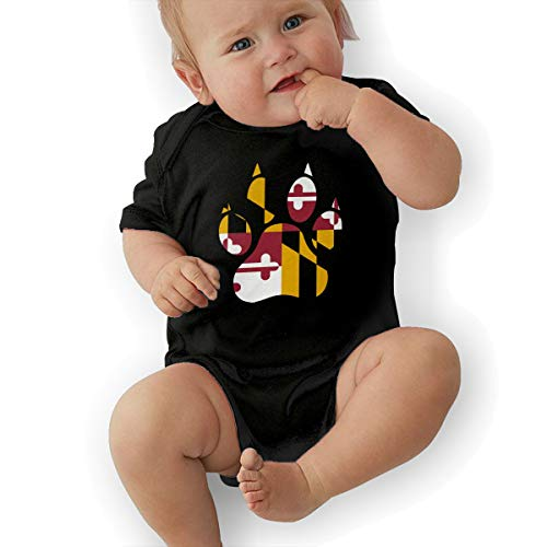 Short Sleeve Cotton Rompers for Baby Boys and Girls, Fashion Maryland Dog Paw Jumpsuit Black ()