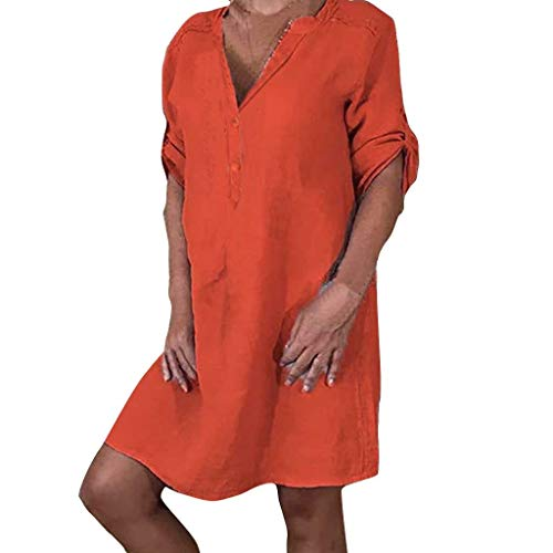 (FRENDLY Women T Shirt Dress Half Sleeve Ladies Boho Mini Dress V-Neck Solid Color Casual Dress Fashion Party Dress Orange)