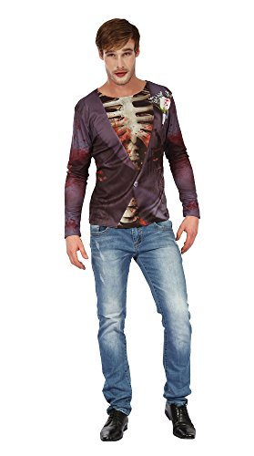 Bristol Novelty AC245 Zombie Bridegroom 3D Print Shirt, UK 42-44 ()