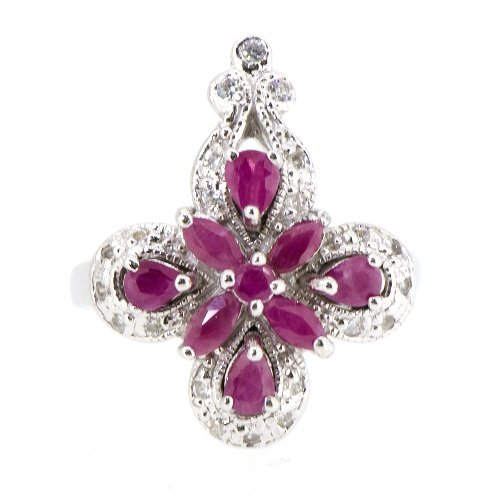 Caratera Fine Jewelry Rare Natural African Ruby 4 Leaf Flower Ring (Resizable) 925 Silver ()