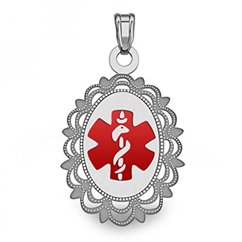 Sterling Silver Enamel Pendant (Sterling Silver Oval Medical Pendant W/ Red Enamel - 1/2 Inch X 3/4 Inch)