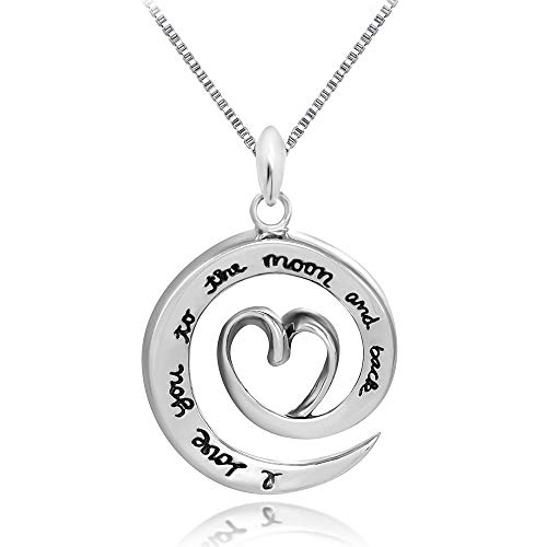 Kokoma Engraved I Love You to The Moon and Back Sterling Silver Pendant Necklaces for Her Dainty Love Heart 18inch Box Chain -