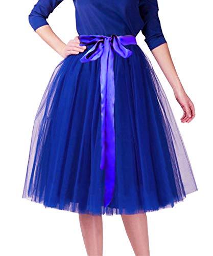 CahcyElilk Knee Length Tulle Skirt Midi Royal Blue Tutu Tulle Prom Princess Party Dance Skirt with Belt Royal Blue Large]()