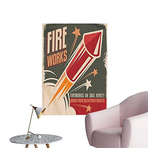 Wall Decals Fireworks in Vintage Paper with Stars Rockets Western Halloween Environmental Protection Vinyl,32