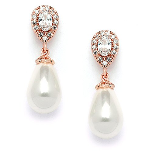Mariell Rose Gold Pear-Shaped Cubic Zirconia Wedding Earrings for Brides with Bold Soft Cream Pearl Drops (14kt Dangle Earrings Jewelry Gold)