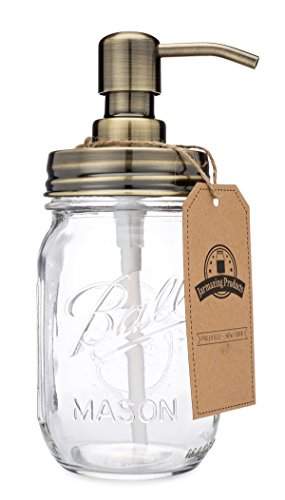 Jarmazing Products Mason Jar Soap Dispenser - Brass - with 16 Ounce Ball Mason Jar - Made from Rust Proof Stainless Steel (Soap Dispenser Jar Glass Mason)