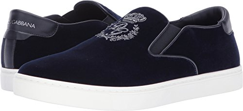 Dolce & Gabbana Men's Palermo Velvet Sneaker Dark Blue 42 (US 9) - Blue Dolce Gabbana Dark And