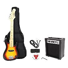 Fever ST01-SB Kids 30-Inch Electric Guitar Package 1/4 Size, Sunburst