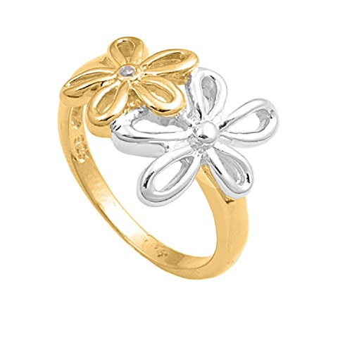 Cubic Zirconia Two Toned Flower Ring Sterling Silver Size 10 (Flower Toned Two)
