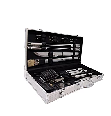 BBQ Grill Tools Set with 18 Barbecue Accessories - Stainless Steel Utensils with Aluminium Case - Complete Outdoor Grilling Kit for Dad