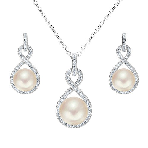 EleQueen 925 Sterling Silver CZ AAA Button Cream Freshwater Cultured Pearl Bridal Jewelry Necklace Earrings - Bridal Earrings Freshwater Pearl