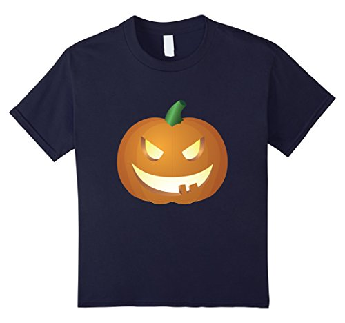 Kids T-Shirt Funny Pumpkin Witch Hat Scary Halloween Orange 12 Navy