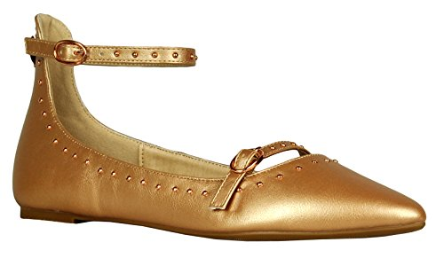 Cambridge Select Womens Closed Pointed Toe Studded Buckled Ankle Strap Ballet Flat Rose Gold 3uqRGi1Y