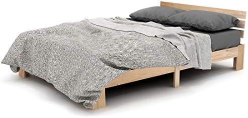 M Lit Double en Bois Cadre de lit en pin Massif lit Double Blanc Moderne Minimaliste Cadre de lit adapt/é pour Les Adolescents Enfants Adultes 4FT6