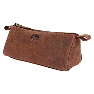 Rustic Town Leather Pencil Case - Zippered Pen Pouch for School, Work & Office