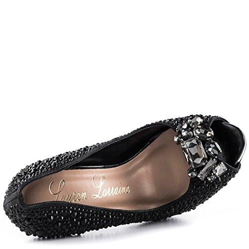 Lauren Lorraine Candy 2 Black Broach Shimmer Rhinestones Peep Toe Plataforma Vestido Bomba