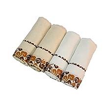 ZGK-TOWEL 100% Bamboo Fiber Hand Towel Luxury Home Hotel Washcolth Bathroom SPA Travel Microfiber Wash Cloth Towels Set White and Brown,4-Piece Set