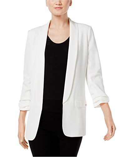 Shawl Collar Ruched Sleeves Blazer Ivory 10 ()