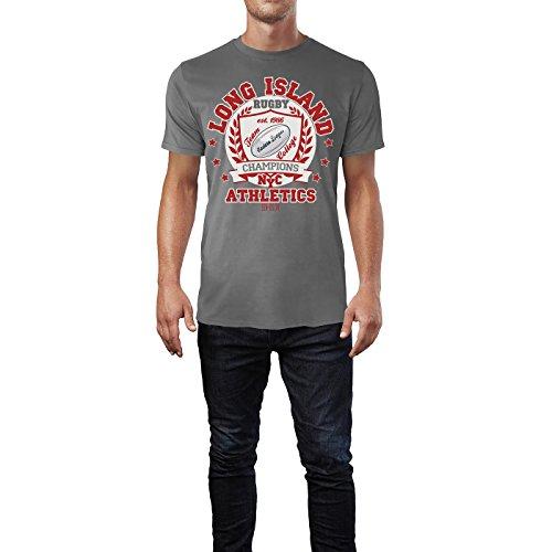 Sinus Art ® Herren T Shirt Long Island Athletics NYC ( Charcoal ) Crewneck Tee with Frontartwork