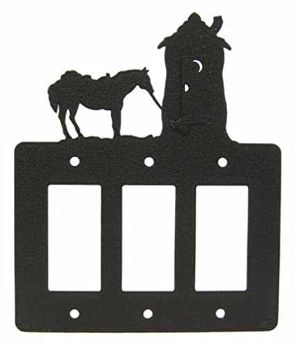 Tethered Horse Double Rocker Cover Plate Black