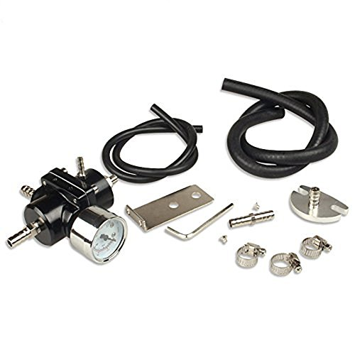 SUNROAD Universal Adjustable Aluminum Alloy Fuel Pressure Regulating Valve + Pressure Gage + Hose +Gauge Kit - Regulator Universal Pressure Fuel
