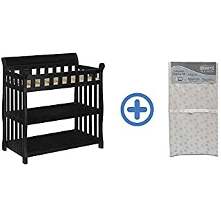 Delta Children Eclipse Changing Table, Black and Waterproof Baby and Infant Diaper Changing Pad, Beautyrest Platinum, White