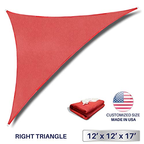 Windscreen4less 12' x 12' x 17' Sun Shade Sail Triangle Canopy in Rust Red with Commercial Grade (3 Year Warranty) Customized