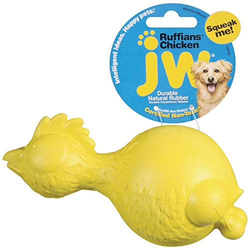 JW Pet Company Ruffians Chicken Dog Toy, Medium (Colors Vary)