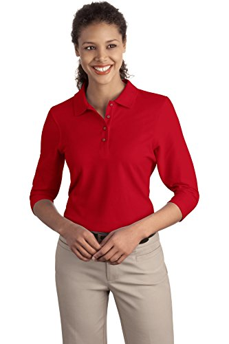 Women Port (Port Authority Women's Port Authority Ladies Silk Touch 3/4-Sleeve XL Red)