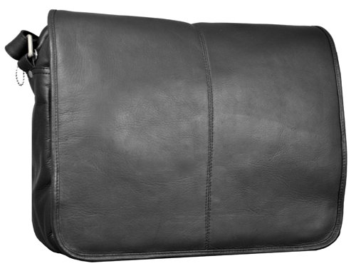 David King & Co. Flapover Messenger with Back Trolley Pocket, Black, One Size