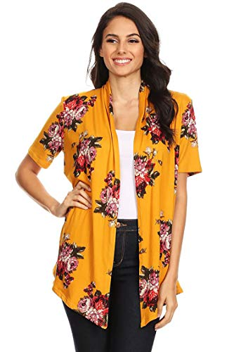 Solid & Printed Short Sleeves Open Front Draped Cardigan/MADE IN USA Floral Mustard Red 1XL by HEO CLOTHING