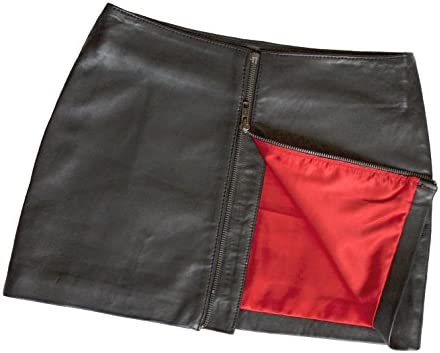 Ashwood for Tout Ensemble Black Real Genuine Leather Micro Mini Skirt with Full Rear Zip (12 inch)